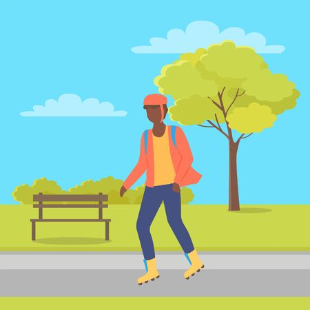 Man wearing helmet, person character going on rollerskates in city park with bench and trees. Boy rollerblading in casual clothes, urban activity vector Illustration