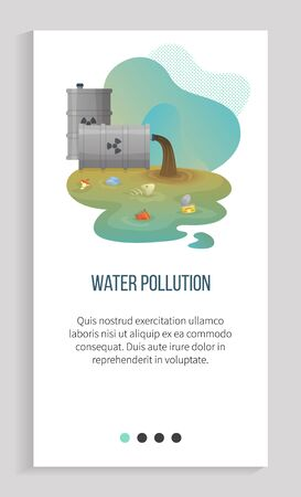 Water pollution vector, polluted liquid of dirty color with garbage and litter, organic waste apple , metal can and jar floating in river environmental. Earth day. Slider for ecology app, save planet