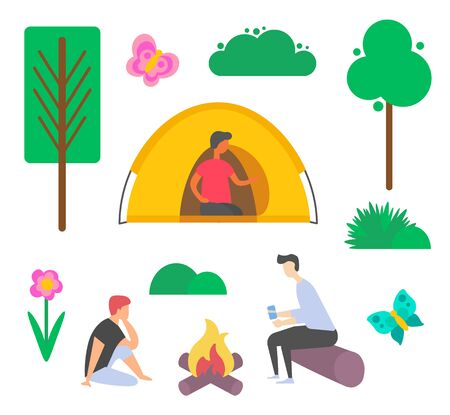 People sitting near bonfire, person in tent, bush and tree, flower and butterfly nature decoration element on white, green and wood, leisure vector