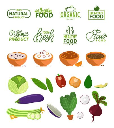 Natural product vector, bowls with prepared dishes, cucumber and cabbage, aubergine eggplant and beetroot, pepper and avocado with seed, onion veggie. Stikers for healthy food menu Illustration