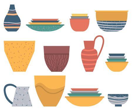 Geschirrset, bunter Teller und Schüssel, Keramikvase und Glas auf Weiß. Rustikaler oder hausgemachter Topf und Suppenteller, Kunsthandwerks-Souvenir, Steingut-Topfvektor Vektorgrafik