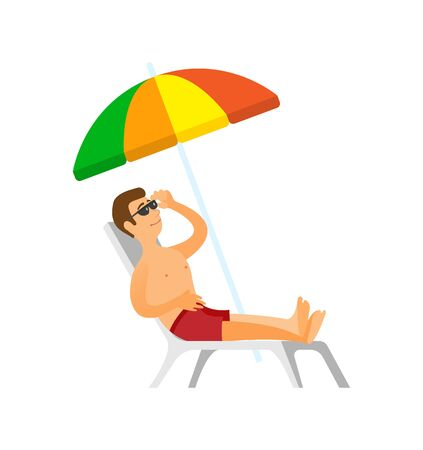 Summertime relaxation traveling to coast vector. Tourist wearing sunglasses laying under umbrella on chaise longue. Person on beach in swimming shorts