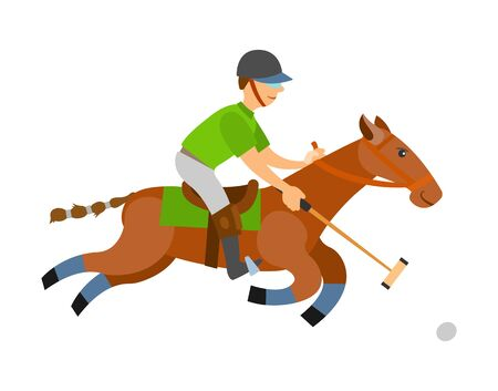 Man on horse holding stick, hitting ball on speed isolated. Vector polo player, equine sports on stallion. English horseback mounted team sport cartoon style 向量圖像