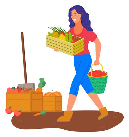 Vegetables in wooden containers vector, woman farming. Agricultural worker smiling lady with apples and carrots, tomato and pepper sweet paprika flat style
