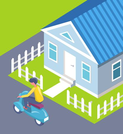 House with fence and cut lawn vector, person on scooter riding on path flat style man wearing helmet using ecologically friendly transport in city Ilustracja