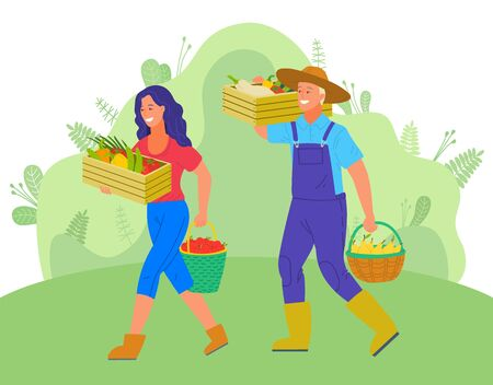 Harvesting man and woman vector, people with wooden containers carrying picked goods on farm. Peppers and pears, fruits and veggies, greenery of rural nature Illustration