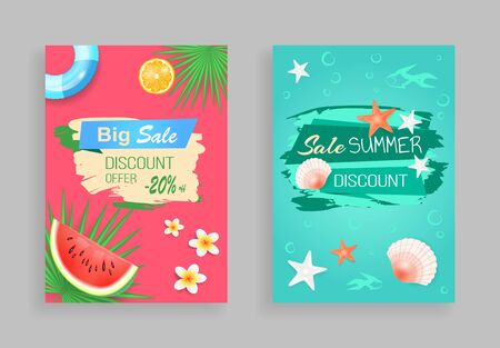 Big summer sale discount offer vector tropical promo posters. Starfish and shell, underwater creatures, fruit piece, inflatable ring, flower and palm leaf