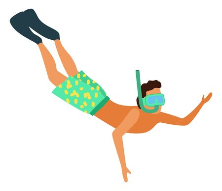 Man snorkeling in diving mask isolated. Vector male with tube going to dive, underwater floating person in shorts and flippers, waving hand. Summer activities
