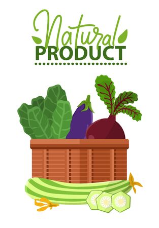 Natural product label decorated by cabbage, beet in basket, zucchini and slices, vegetables assortment in pannier, ad with vegetarian food vector