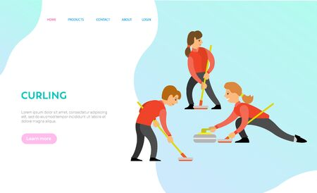Curling vector, game participants, people playing in team together, competition of man and woman wearing uniforms and holding wooden sticks. Website or webpage template, landing page flat style