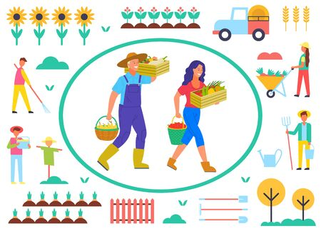 Farming people with vegetables vector, man and woman carrying gathered production. Scarecrow and sunflowers, fence and tree, carriage and tractor. Farm objects