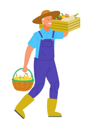 Harvesting man smiling and carrying products in basket vector. Isolated person wearing hat holding bucket with pear, tomato and pepper, veggies in containers