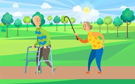 Couple of senior disabled people walk along green trees in park vector, old grandmother in yellow sweater with grandfather on crutches stroll together
