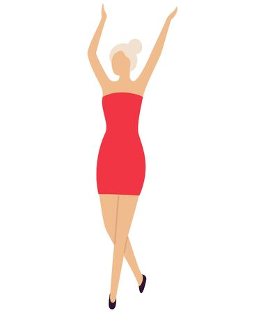 Sexy girl dancer on dance floor in mini red dress isolated cartoon character. Vector blond lady with hands up entertain at disco club, woman on party