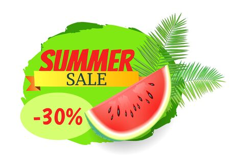 Summer sale watermelon discount isolated banner with text on stripe vector. Tropical leaves of palm tree, juicy fruit with seeds offering for clients