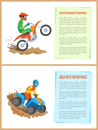 People going in for extreme sports vector, quad bike activity and motorbike riding set of posters with text. Motorcyclist wearing special helmet and costume