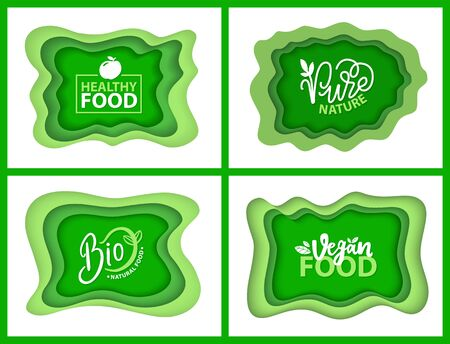 Organic food and supplies vector, isolated set of green logotypes, foliage vegetal elements, apple and plants with leaves natural meal and ingredients