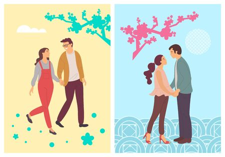 Spring blossoms and abstract students in love, people in cartoon style. Vector girls and boys walking and holding hands, gently hugging, teenagers lovers