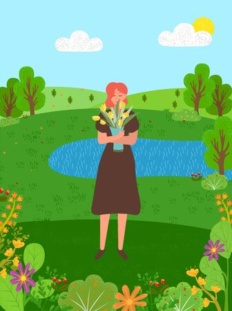Pretty woman with bouquet of yellow tulips in green forest with lake, river or pond. Summer or spring season, female on nature with flowers and plants 向量圖像