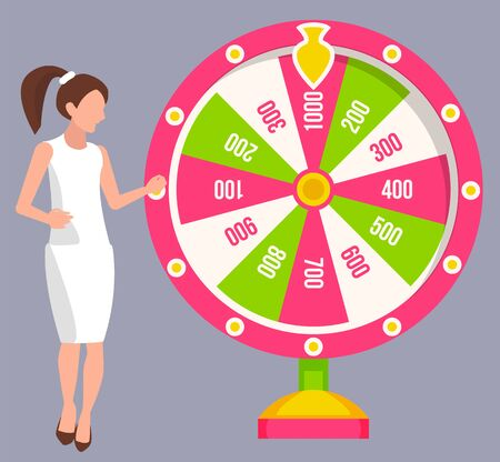 Lady gambler twisting fortune wheel with numbers, business success. Female winning money, gambling machine and jackpot, casino equipment, prize vector