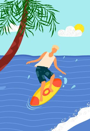 Beach activities, man on surfboard in blue sea with palm tree. Vector surfer on board, ocean water splashes. Summer fun, windsurfing sport recreation