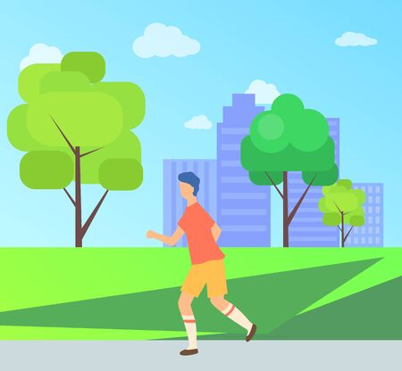 Man in sportswear running in city park, side view of male going near trees and skyscraper, outdoor activity, training athletic, sportsman decoration vector