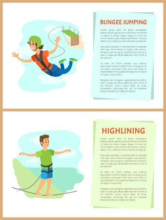 People with hobbies vector, bungee jumping woman and highlining man with stretched hands, balancing person male and flying girl female in uniform Ilustração