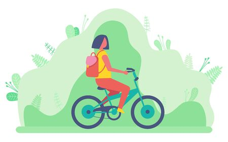 Cyclist riding bike in park vector, hobby of woman cycling. Nature leaf and foliage, character student with bag on back, rucksack on persons shoulder Illustration