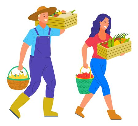 Harvesting man and woman carrying products in basket vector. Isolated person wearing hat holding bucket with pear, tomato and pepper, veggies in containers Foto de archivo - 127798684