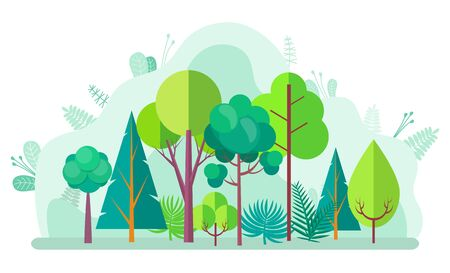 Green forest with tree and bushes, firs and birches, pines and oaks on blurred background of green plants. Vector landscape with wood design elements Illustration