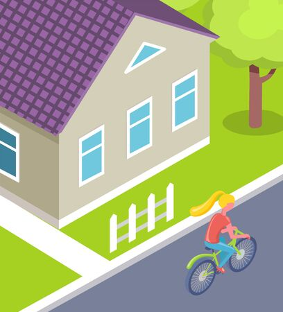 City with calm atmosphere vector, woman on bike cyclist in small town passing building with fence and green lawn. Ecological transport usage cycling