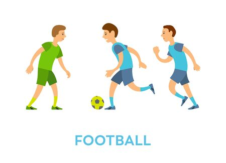 Characters playing football vector, players wearing uniform kicking ball on ground isolated people running and competing. Challenge tournament play