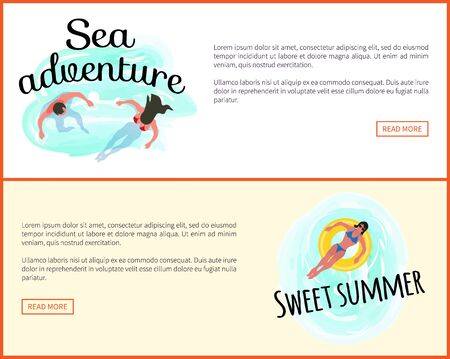 Sea adventures vector, sweet summer people swimming in seawater. Website online with text, female with lifebuoy, couple in water relaxing summertime 版權商用圖片 - 127798691