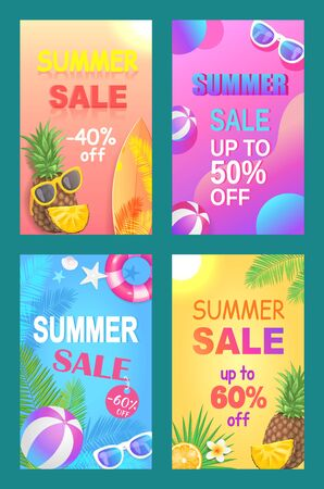 Summer sale off price posters vector. Sell out and discounts, proposition from shops and markets. Seasonal reduction on accessories and rubber balls. Summertime banners