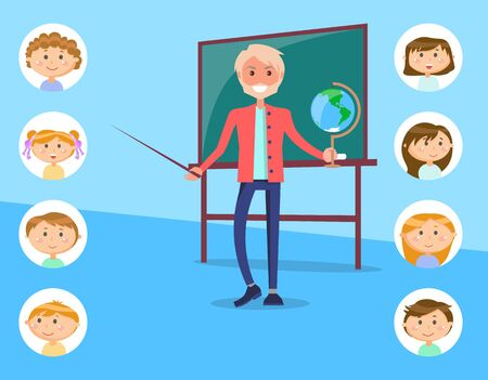 School education, geography male teacher with Earth globe and pointer near chalkboard vector. Students or pupils avatars, geographical knowledge class. Back to school 向量圖像