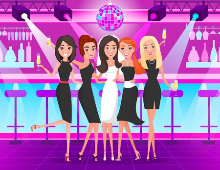 Bride wearing bridal dress and veil with bridesmaids vector. Nightclub bachelorette party with friends, dancing and drinking in club partying. Celebrating hen-party. Friends on hen night at nightclub