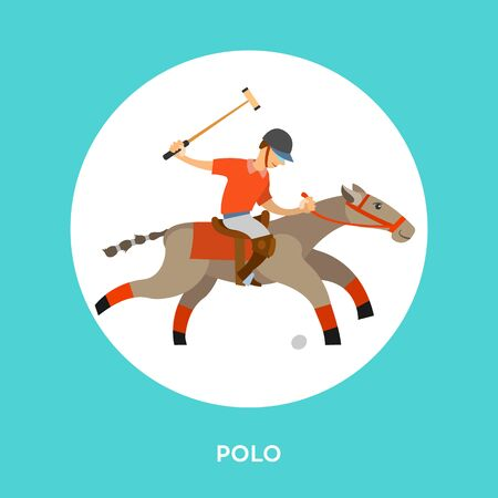 English horseback mounted team sport. Vector polo player, equine sports on stallion and player in round button. Man on horse holding stick, hitting ball Illustration