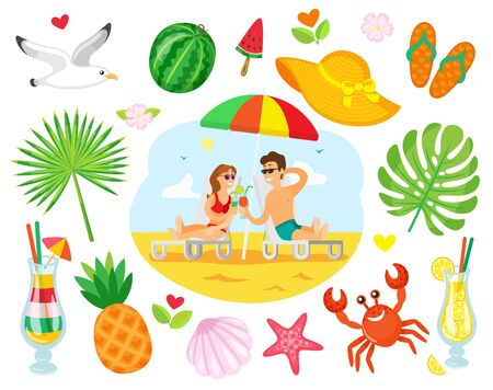 Couple lying on chaise lounge with cocktails, people on summer beach. Image decorated around by cocktail, tropical fruit, crab and shell, flip flops vector. Summertime objects  イラスト・ベクター素材