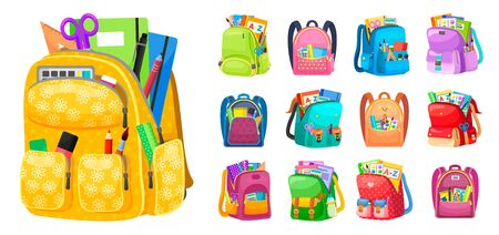 Backpack full of stationery objects, back to school. Vector isolated rucksacks with exercise books, pens and pencils, rulers and textbooks isolated. Set of school bags. Multicolor backpacks for kids Çizim