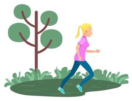 Girl running in green field with tree and grass isolated. Vector runner or jogger on rest, active way of life. Cartoon woman jogging outdoors in forest or park