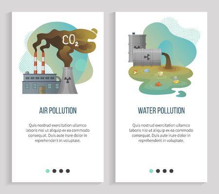 Luchtvervuilingsvector, waterafval en verwijderingen, gasemissies van fabrieken die CO2-schadelijke stoffen uitstoten, rioolbuis met afval erin. Website of slider-app, vlakke stijl van bestemmingspagina