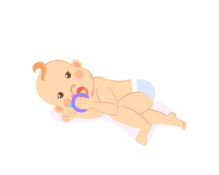 Baby lying on his back and playing with rattle isolated. Vector newborn toddler, milestones from 1 to 6 month cartoon boy or girl on white, son or daughter