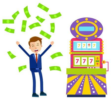 Person in casino vector, slot machine with numbers and floral symbol flat style. Lucky seven, businessman with fortune wheel, banknotes winning dollars. Money pours on a man. Win jeckpot Иллюстрация