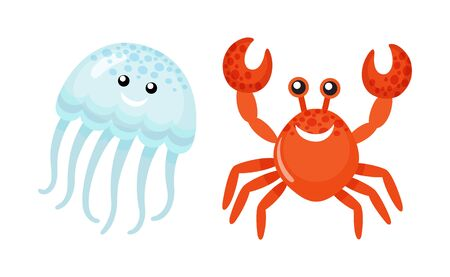 Red crab waving claws and smiling vector, jellyfish summer character. Oceanic natural creatures with face smiling, medusa with tentacles and smile Banque d'images - 127800935