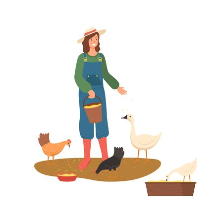 Personne à la ferme vecteur, agricultrice portant un chapeau nourrissant des poules et des oies agriculture et élevage d'animaux domestiques isolé style plat agriculteur
