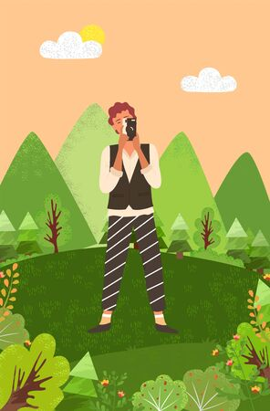 Pictures of nature and landscapes vector, photographer with camera surrounded by natural beauty. Tees and bushes, mountains and clears sky with shining sun Ilustrace