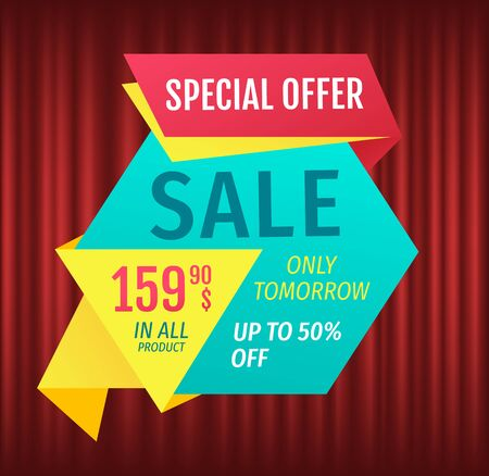 Advertisement of exclusive offer, hot discount percent and 99 dollars price, only one day. Retail sale poster, shopping icon on red, marketing symbol vector. Cheap, deal promotion, lowering of prices