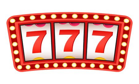 Sign of luck and success vector, isolated signboard. Glowing frame lucky sevens triple 777 number. Casino gambling victory winning money flat style. Win in casino Illustration