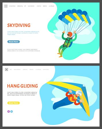 Skydiving and hang gliding vector, people with active lifestyle, skydiver and paraglider. Sky and clouds, flights of people, extreme hobby of men. Website or webpage template, landing page flat style