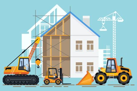 Construction of building vector, machinery working in area. Crane with hook lifter, tractor and bulldozer, loader transporting cargo in container